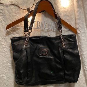 Black leather GUESS tote purse bag